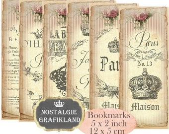 French Paris Bookmarks Instant Download digital collage sheet E173 Vintage Paper