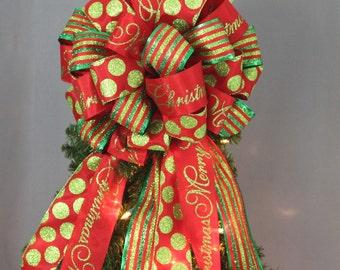Merry Christmas Sparkle Dot Stripe Christmas Tree Bow - Christmas Tree Topper Bow,  Mantel Bow, Garland Bow, Christmas Tree Topper Bow