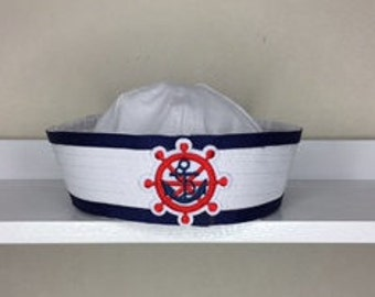 Sailor Hat, Cruise Hat, Sailor Hat, Blue and White Sailor Hat, Girls Sailor Hat, Adult Sailor Hat