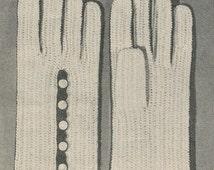 CROCHET PATTERN Vintage 50s Womens Button Shortie Gloves Instant Download PDF