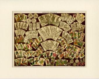 "1897 Antique Playing Cards Print - Deck of Cards - Matted 12x16"" Vintage Decor - Poker Black Jack Gamble Las Vegas"