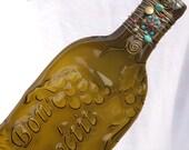 Flattened Kiln-Fired Slumped Wine Bottle Tray/Suncatcher/Spoonrest, Wire-Wrapped with Beads & Bronze Wire