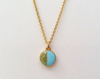 Round Pendant Necklace, Glitter Necklace, Gold Glitter Pendant Necklace, Pastel Blue Round Necklace, Resin Jewelry, Blue and Gold Necklace