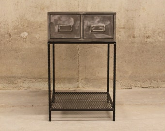 End Table Vintage Card Catalog Polished with ReBar Legs and Mesh Shelf