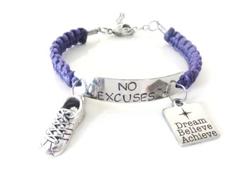 No Excuses Dream Believe Achieve Running Sneaker 5k 10k Marathon Half Marathon Love to Run Charm Bracelet You Choose Your Cord Color(s)