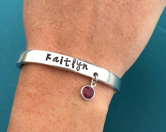 Custom Name Bracelet Hand Stamped with Birthstone Charm Aluminum Cuff - Personalized Gift - Skinny Shiny Bangle - Personalized Jewelry