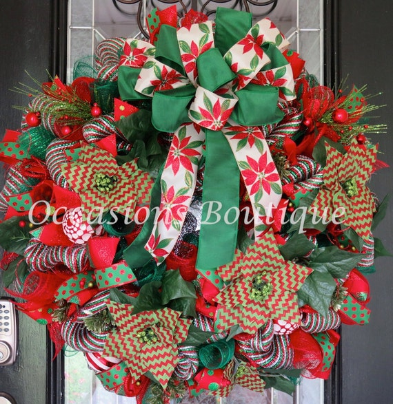 Poinsettia christmas wreath holiday wreath by for 5ft poinsettia garland christmas decoration