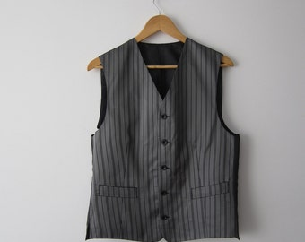 Grey Striped Gentlemen's Vest Mens Shiny Waistcoat Fitted Edwardian Victorian Renaissance Steampunk Baroque Medium Size