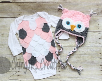 Baby Owl Costume Crochet Owl Hat Baby Owl Bodysuit Pink Gray Owl hat and Bodysuit set White Gray Pink Owl Hat and bodysuit costume