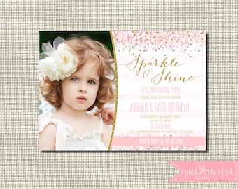 Sparkle and Shine Birthday Invitation, Pink and Gold Birthday Invitation, Birthday Invitation, Gold Glitter, Glam, Champagne, Blush, Digital