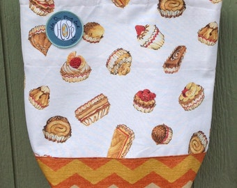 Cupcake Orange Chevron, Free Shipping, reusable HOPE grocery bag, washable, dryable, sturdy, and holds up to 25 pounds.
