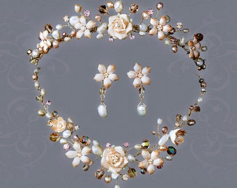 Pink Crystal Bridal Necklace Earring & Tiara Set  3 piece bridal set Bridal Tiara bridal necklace set
