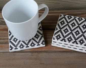 Set of 4 tile coasters - Black Cream Geometric Bird's Eye wedding, birthday, housewarming, anniversary gift Heat water safe.