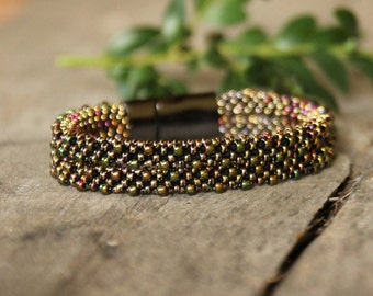 Shiny bead crochet rope bracelet in galvanized brown with pink, green, gold, double bracelet, seed bead jewelry, gift for mom, naryajewelry