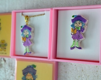 NOS Vtg Strawberry Shortcake Jewelry Your Choice Pendant Necklace or Pin Plum Puddin' Pudding Purple Glasses Owl Girl Reading 1980s Girl Toy