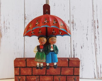 Adorable Hand Carved, Hand Painted Key/ Jewelry Rack from Germany