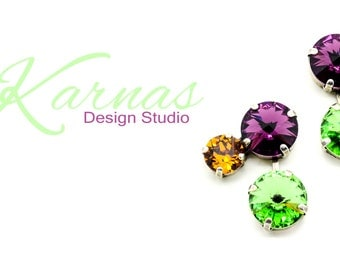 AFTERNOON TEA 12/8MM Crystal Stud Earrings Made With Swarovski Elements *Antique Silver *Karnas Design Studio *Free Shipping*