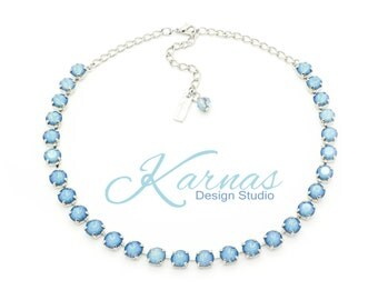 WHITE OPAL STARSHINE Rare 8mm Crystal Chaton Necklace Swarovski Elements *Pick Your Finish *Karnas Design Studio *Free Shipping