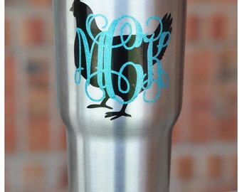 Chicken Monogram Decal - Chicken Lover - Custom Decal for 30 oz  Yeti, SIC or RTIC Tumbler or 24 oz SIC cup - Cockerel Decal