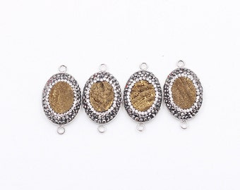 Druzy Connectors -- Pave Cz Zircon Diamonds Wholesale Drusy Druzzy Druzy Connector Charms YHA-193