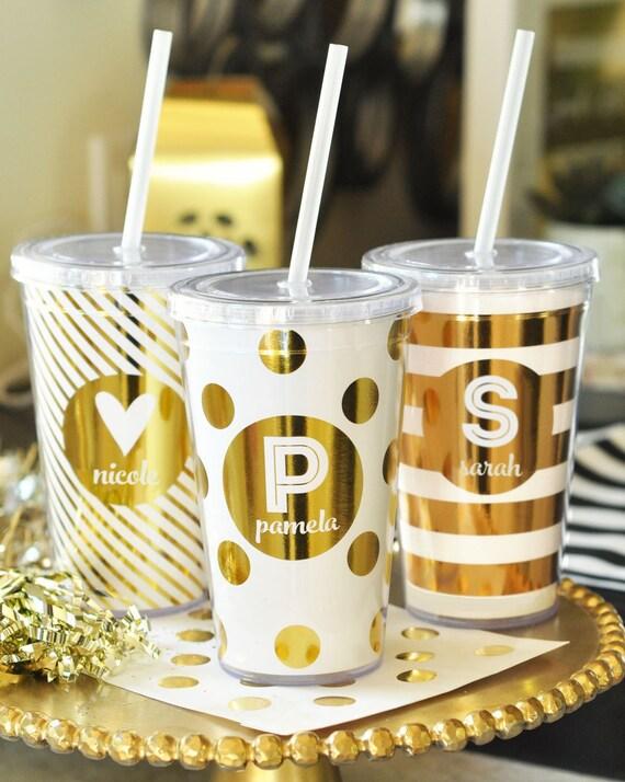 personalized tumbler custom tumbler monogram tumbler cup polka