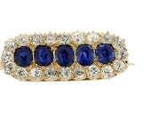 14K Yellow and White Gold Diamond and Sapphire Brooch