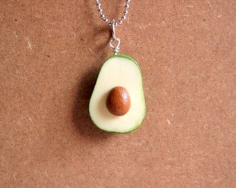 Avocado Necklace - Miniature Food Jewelry, Polymer Clay Food. Miniature Avocado. Avocado Jewelry. Gifts.