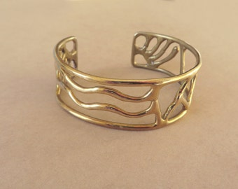 Vintage brass abstract cuff