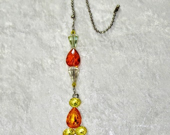 Yellow and Orange,   Crystal Ceiling Fan Pull,   Light Pull,  Ceiling Fan Chain Pull,  One of a Kind,    Lighting