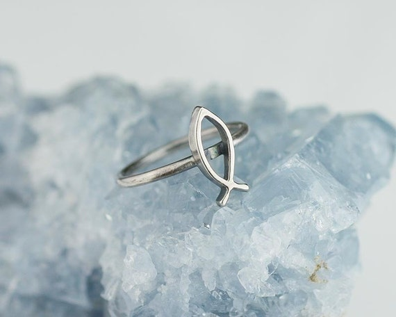 ichthys ring solid 925 sterling silver christian fish custom