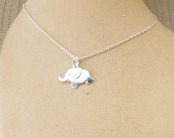 Sterling Silver Elephant Necklace, baby elephant pendant necklace
