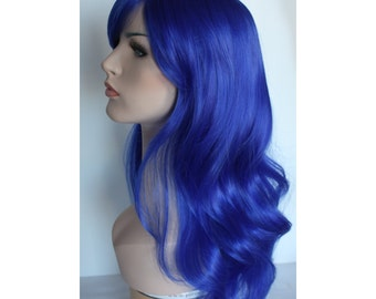 Long wavy blue wig hair synthetic wig -high quality wig