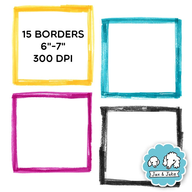 Clip Art: Sketchy Marker Square Border Set For Personal and