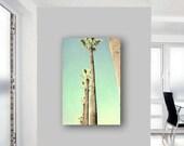 Palm tree photography large canvas art, tropical canvas print, California wall art, grey mint beach house decor, tropical wall art modern