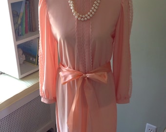Orange sherbet Victorian Dress.....Highly detailed....long sleeves...lace accents....satin ribbon belt