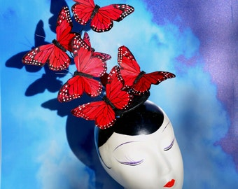 Red Monarch Butterfly Fascinator