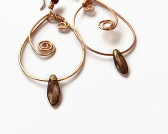 Copper Swirl Earrings Hammered Copper Hoop Earrings Copper Hoop Dangle Earrings Boho Style Copper Jewelry Copper Swirl Leaf Earrings (E290)