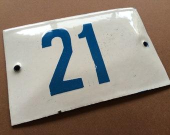Vintage Enamel Sign Tin Porcelain House Number 21 Door Gate White Blue 1950's