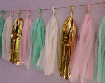Mint Green Blush Pink Gold Tissue Paper Tassel Garland, Party Decoration, Tassel Garland, Party Decor, Wedding Decor, Birthday Party, Banner