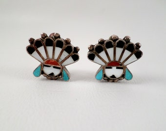 Vintage Gemstone Inlay Zuni Sunface Kachina Clip on Earrings, Mother of Pearl Turquoise Coral, Boho Southwestern Western Wear, ID 292146401