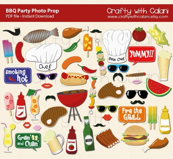 BBQ Party Photo Booth Prop, Summer BBQ Photo Booth Prop, Instant Download, Party Printable, 43 ready print images