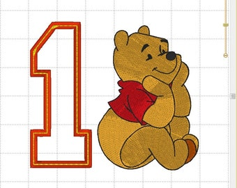 Winnie the POOH Honey Bear Pot Disney Birthday Number# 1 Digital Applique & Embroidery Design INSTANT DOWNLOAD ~  4x4, 5x7 and 6x10 Sizes