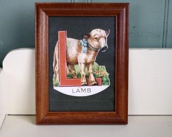 Vintage L for Lamb Print Framed Nursery Decor