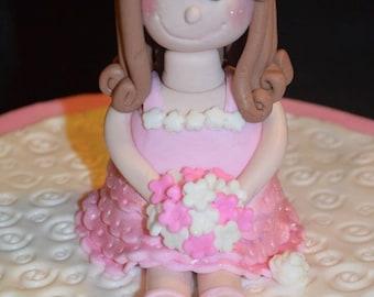 Fondant Girl Ballerina Cake Topper, fondant ballerina, fondant cake topper, fondant girl cake topper