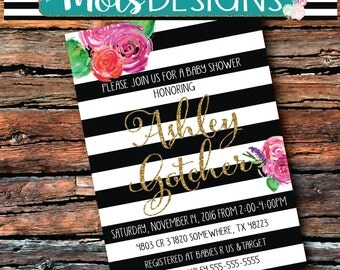 GLITTER BABY BRIDAL Shower Vintage Gold Black and White Stripes Spade Sprinkle Couples Pink Purple Coral Watercolor Floral Kate Invitation