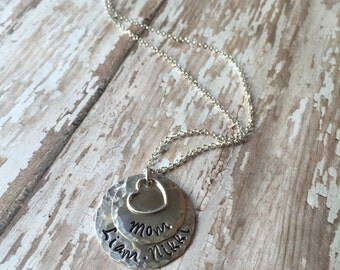 Sterling Silver Hand Stamped Mom Necklace-Personized Mommy Necklace-Sterling Silver Mom Gift-Mommy Necklace ~Mommy Mom Mother Child Jewelry