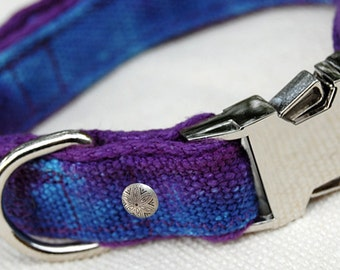 HeMP Dog Collar   Tie Dye Dog Collar   Dog Collars   Martingale Collar   Adjustable Pet Collar   Hemp Canvas Collar   Wide Collar