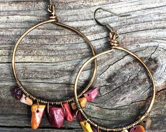 Mookaite Brass Hoop Earrings