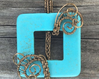 Woven Brass Turquoise Square