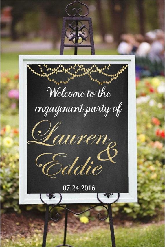 Engagement party decor diy printable welcome to the for Decorating ideas for outdoor engagement party